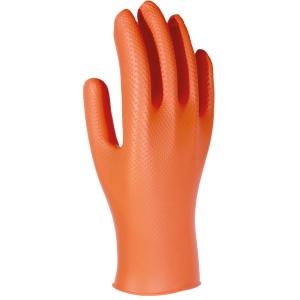 Caixa de 50 luvas descartáveis 3L Unigrip Or nitrilo laranja tamanho 7