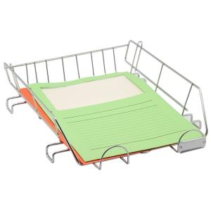 Bandeja portadocumentos metálica  c/porta cartões Dimensões: 270x65x340mm