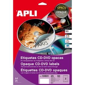 Caixa de 50 etiquetas CD/DVD branca opaca APLI com diâmetro 117 mm