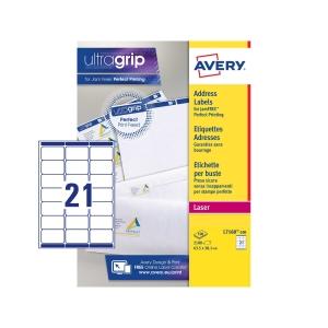 Caixa de 2100 etiquetas impressão laser AVERY L7160-100 cantos romos brancas