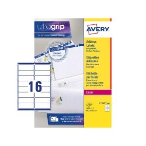 Caixa de 1600 etiquetas impressão laser AVERY L71612-100 cantos romos brancas