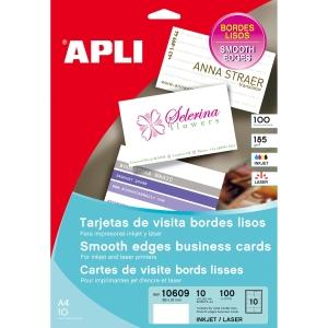 Caixa de 100 cartões de visita de 200g/m2 APLI de 89 x 51 mm