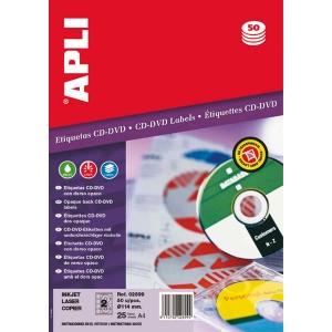 Caixa de 50 etiquetas CD/DVD branca opaca APLI com diâmetro 114 mm