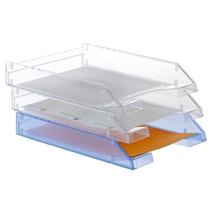 Pack 2 bandejas transparente c/fundo liso ARCHIVO 2000 Dimensões:260x60x340mm