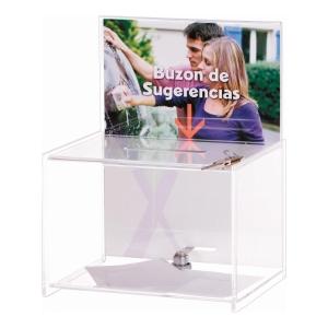 Caixa de sugestões transparente ARCHIVO 2000  Dimensões: 170 x 222 x 288mm