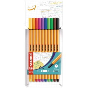 Pack de 10 marcadores com ponta fina STABILO POINT 88 multicor