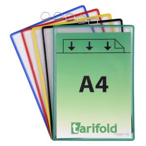 Pack 5 bolsas de suspensão A4 de PVC transparente em cores sortidas TARIFOLD