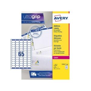 Caixa de 6500 etiquetas impressão laser AVERY L7651-100 cantos romos brancas