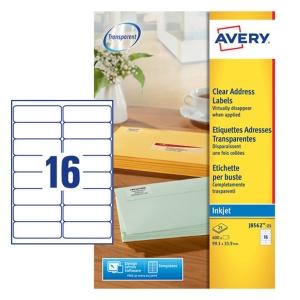 Caixa de 400 etiquetas impressão inkjet AVERY J8562 cantos romos transparentes