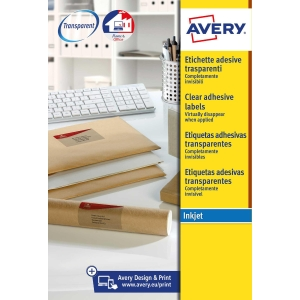 Caixa de 200 etiquetas impressão inkjet AVERY J8565 cantos romos transparentes