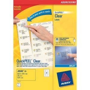 Caixa de 525 etiquetas impressão inkjet AVERY J8560 cantos romos transparentes