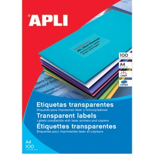 Caixa de 480 etiquetas impressão laser APLI 01224 cantos rectos transparentes