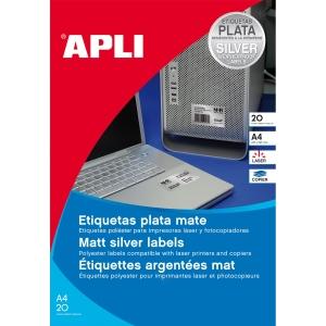 Caixa de 20 etiquetas de poliéster APLI 10071 cantos rectos metalizadas
