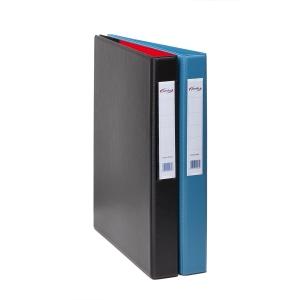 Dossier de 2 argolas em pvc pardo folio azul