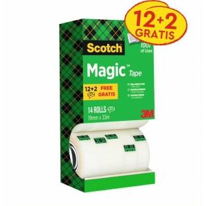 Pack de 14 Fitas adesivas Scotch magic invisível Dimensões: 19 mm x 33 m