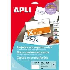 Caixa de 100 cartões visita de 200g/m2 APLI de 90 x 50,8 mm