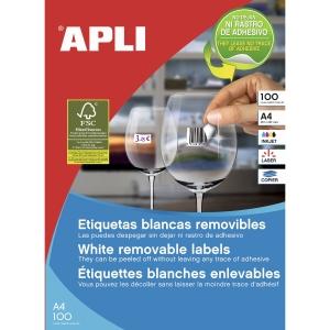 Pack de 6500 etiquetas autocolantes brancas APLI. Medidas: 38 x 21,2 mm