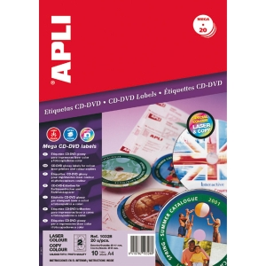 Caixa de 20 etiquetas CD/DVD APLI foto laser com diâmetro 117 mm