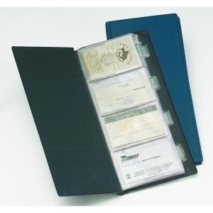 Porta cartões PVC para 160 cartões/20bolsas cor azul