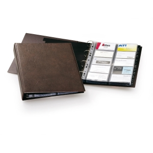 Porta cartões PVC castanho para 400 cartões 55 x 90 mm DURABLE