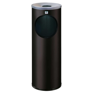 Papeleira/cinzeirometal preta c/recolhe beatas B-10  Dimensões: 660x215mm