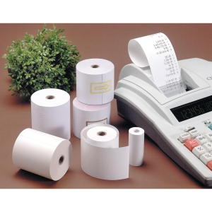 Pack 10 bobinas papel calculadora 60g/m2. 40mx56,5mmx65mm.