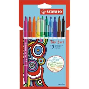 Pack de 10 cores sortidas STABILO Trio 2 en 1