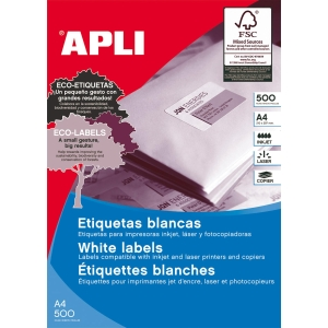 Caixa de 6500 etiquetas autocolantes APLI 1283 cantos rectos 38x21,2mm brancas