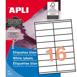 Caixa de 1600 etiquetas autocolantes APLI 1287 cantos rectos 105x35mm brancas
