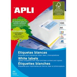 Caixa de 2100 etiquetas autocolantes APLI 1276 cantos rectos 70x42,4mm brancas
