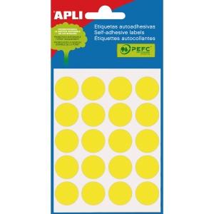 Embalagem de 100 etiquetas autoadesivas em cor amarelo APLI com diâmetro 19 mm