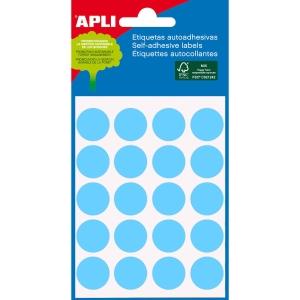 Embalagem de 100 etiquetas autoadesivas em cor azul APLI com diâmetro 19 mm
