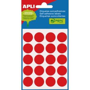 Embalagem de 100 etiquetas autoadesivas em cor vermelho APLI com diâmetro 19 mm