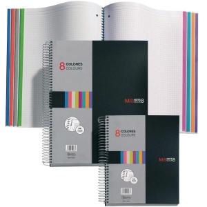 Caderno MIQUELRIUS Noteboo8 200 folhas A5 micro perfuração queadriculado preto