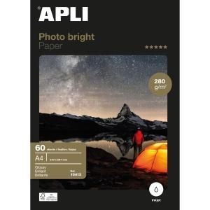 Pack de 60 folhas papel A4 Photo Bright APLI de 280g/m2