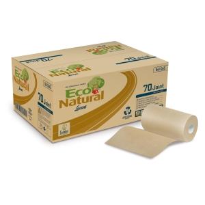 Caixa de 12 bobinas de toallas LUCART EcoNatural ecológico 2 camadas 70 m havana