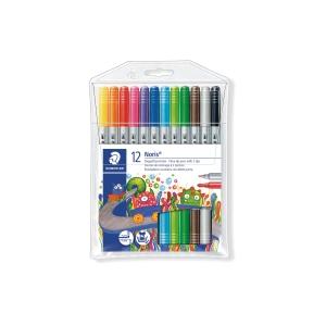 Pack 12 lápis marcadores STAEDTLER Noris Club 320 2 pontas cores sortidas
