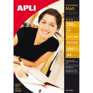 Pacote de 100 folhas de papel inkjet mate APLI A4 120g/m2 branco
