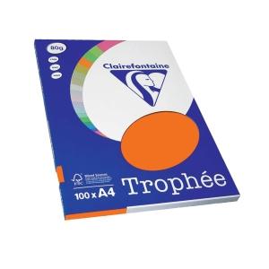 Pacote de 100 folhas de papel TROPHEE A4 de 80 g/m2, laranja fluor