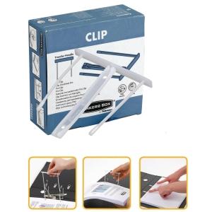 Caixa de 100 encadernadores clip fastener de cor branca. Comprimento de 10 cm