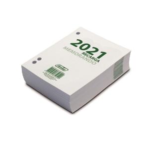 Bloco mini MEMORANDUM pautado com furos ao lado. Dimensões: 110 x 93 x 25 mm