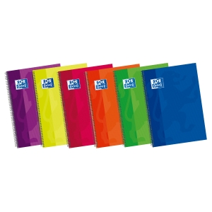 Caderno OXFORD com 80 folhas folio 4x4 capas duras em cores surtidas