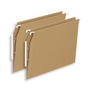Pack de 25 pastas de suspensão Lyreco Budget A4 visão lateral kraft