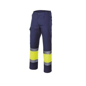Calças VELILLA alta visibilidade azul marinho/amarelo fluorescente XL