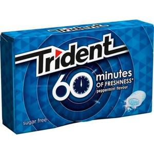 Pacote de 10 pastilhas elásticas em drágeas TRIDENT sem açucar sabor menta