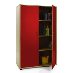 Armário com portas vermelhas e quatro estantes