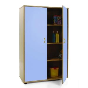 Armário com portas azuis e quatro estantes