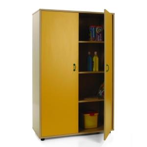 Armário com portas amarelas e quatro estantes