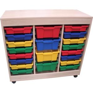 Móvel de duplo acesso com prateleiras coloridas