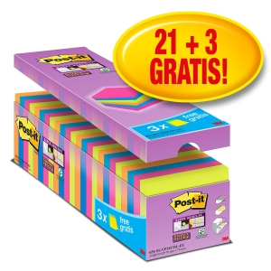 Pack 21+3 Blocos notas adesivas Post-it Super Sticky cores surtidos 76x76mm